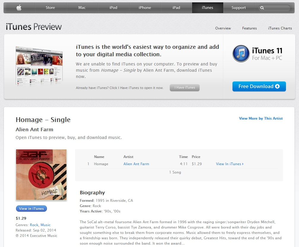 Homage on iTunes